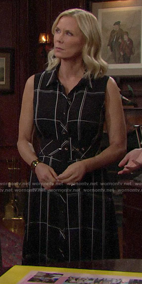 Brooke's black plaid maxi shirtdress on The Bold and the Beautiful