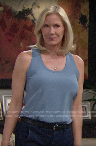 Brooke's blue silk tank top on The Bold and the Beautiful