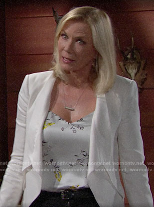 Brooke's floral top and white jacket on The Bold and the Beautiful