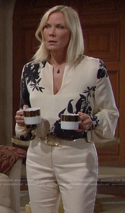 Brooke's ivory and black floral blouse on The Bold and the Beautiful