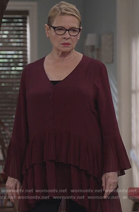 Joan's burgundy's pleated dress on Life in Pieces