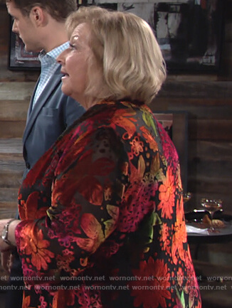 Traci's floral velvet cardigan on The Young and the Restless