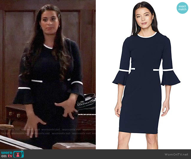 Calvin Klein Bell Sleeve Dress with Contrast Piping worn by Zahra Amir (Maysoon Zayid) on General Hospital