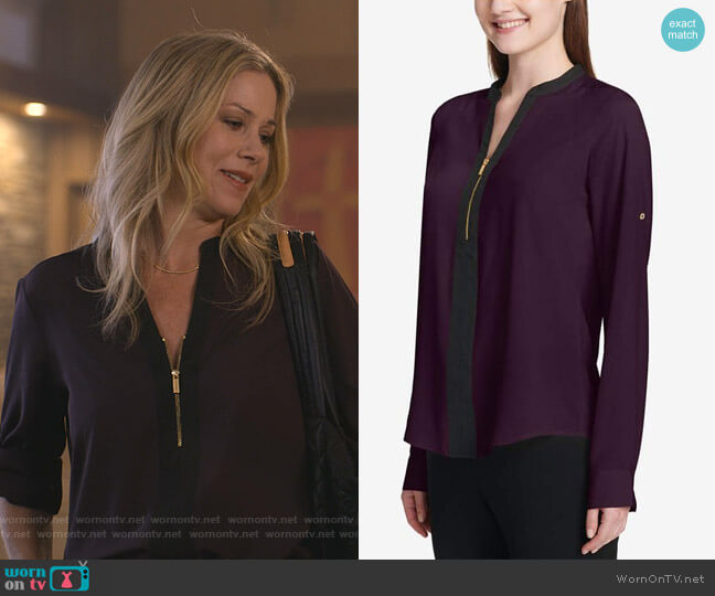 Two-Tone Zip Blouse by Calvin Klein worn by Jen Harding (Christina Applegate) on Dead to Me