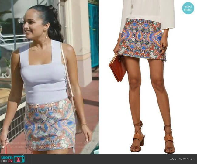 Lace-up Printed Leather Mini Skirt by Camilla worn by Carolina (Feliz Ramirez) on Grand Hotel