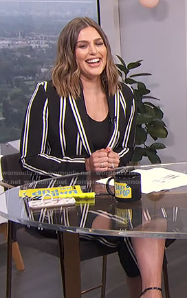 Carissa's black striped blazer and cropped pants on E! News Daily Pop