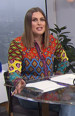 Carissa's mixed print shirt on E! News Daily Pop