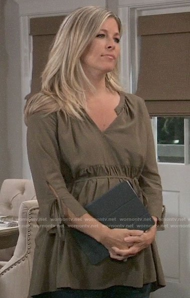 Carly's olive green maternity top on General Hospital
