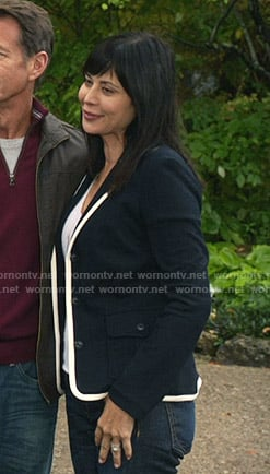 Cassie's navy blazer with white trim on Good Witch