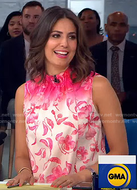 Cecilia's pink floral sleeveless top on Good Morning America