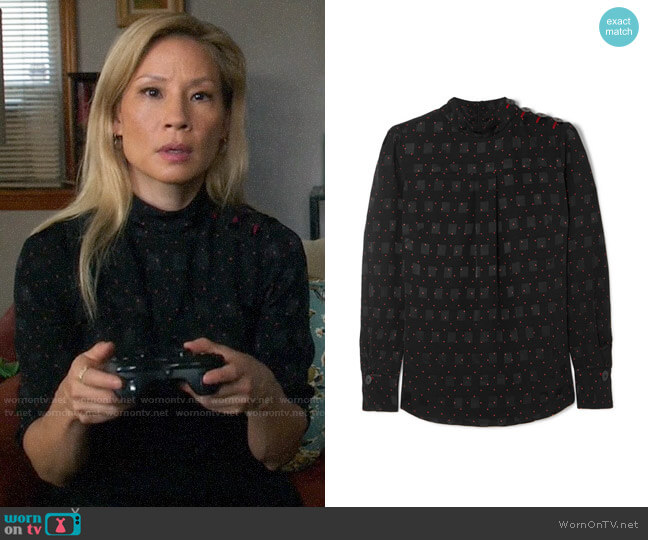 Cefinn Printed jacquard blouse worn by Joan Watson (Lucy Liu) on Elementary