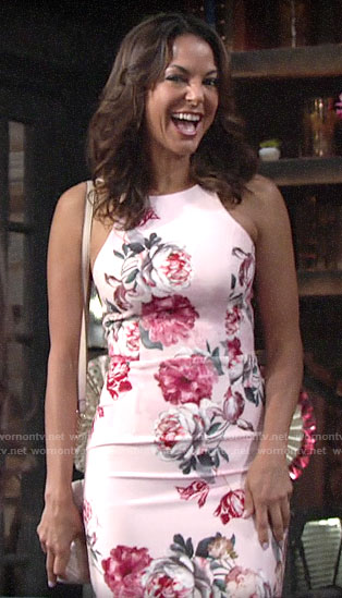 Celeste's pink floral dress at Lola's bridal shower on The Young and the Restless