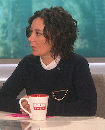 Sara's chain embellished sweater on The Talk