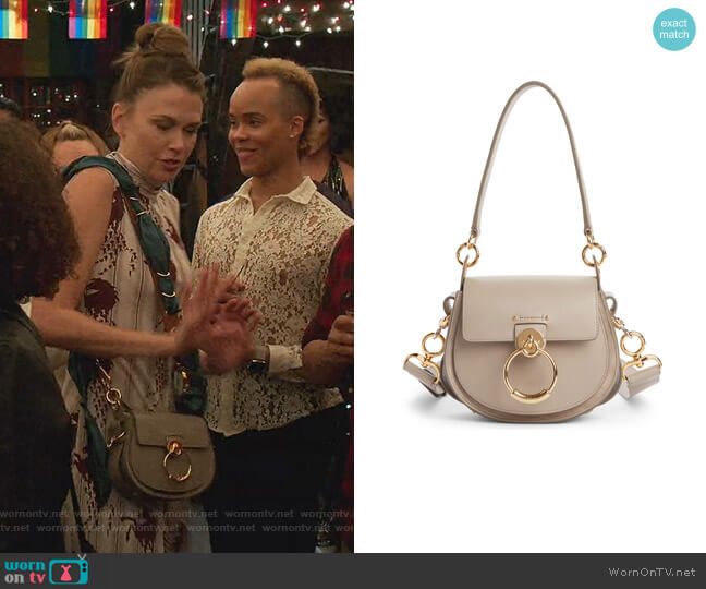 Small Tess Calfskin Leather Shoulder Bag by Chloe worn by Liza Miller (Sutton Foster) on Younger