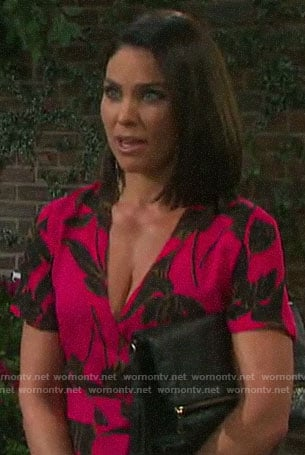 Chloe's pink leaf print midi dress on Days of our Lives