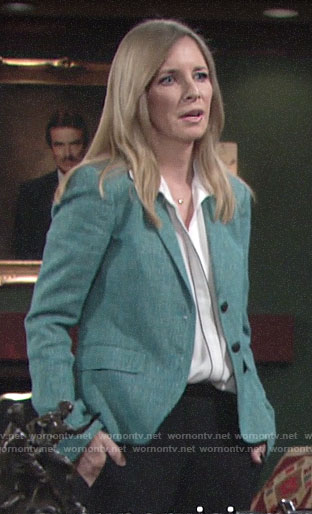 Christine's green tweed blazer on The Young and the Restless
