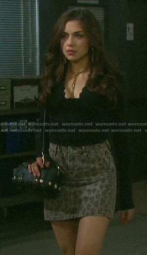 Ciara's leopard print mini skirt on Days of our Lives