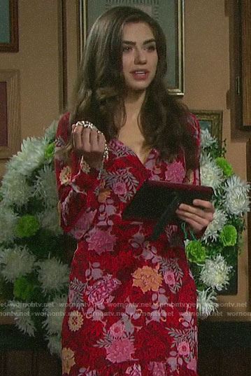 Ciara's red floral dress on Days of our Lives