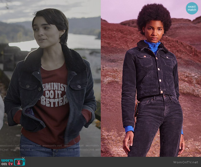 Cord & Borg Shrunken Western Jacket by BDG at Urban Outfitters worn by Elodie Davis (Brianna Hildebrand) on Trinkets