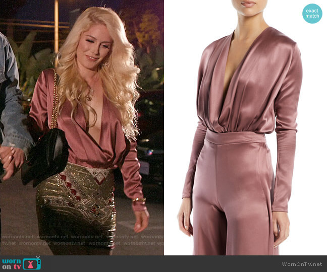 Cushnie Long-Sleeve Deep-V Blouson-Style Bodysuit worn by Heidi Montag  on The Hills New Beginnings