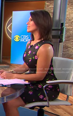 Dana's black floral sleeveless dress on CBS This Morning