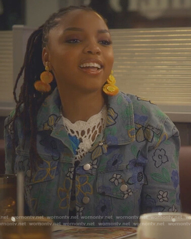 Jazlyn's floral embroidered denim jacket on Grown-ish