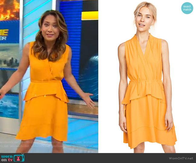 Belted Dress with Tiered Skirt by Derek Lam 10 Crosby worn by Ginger Zee  on Good Morning America