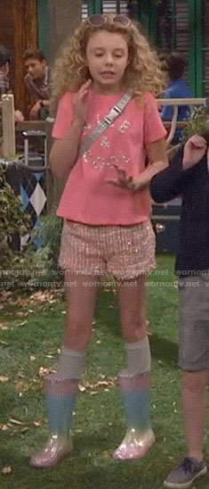 Destiny's pink tweed shorts and rainbow rain boots on Bunkd