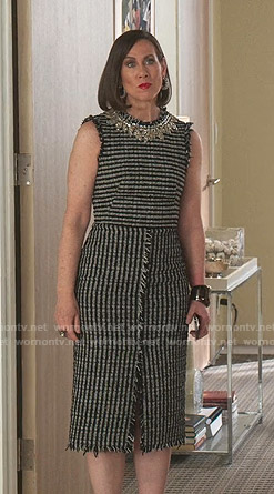 Diana's embellished neck tweed dress on Younger