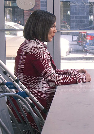 Diana's red and white checked coat on Younger