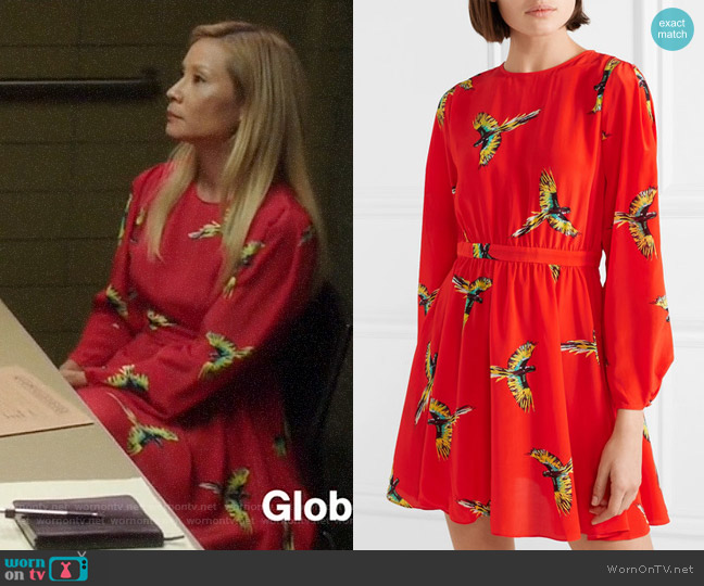 Diane von Furstenberg Printed silk crepe de chine mini dress worn by Joan Watson (Lucy Liu) on Elementary