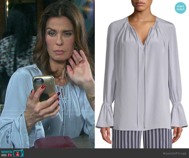 Diane von Furstenberg Long-Sleeve Silk Crepe Keyhole Blouse worn by Hope Williams (Kristian Alfonso) on Days of our Lives