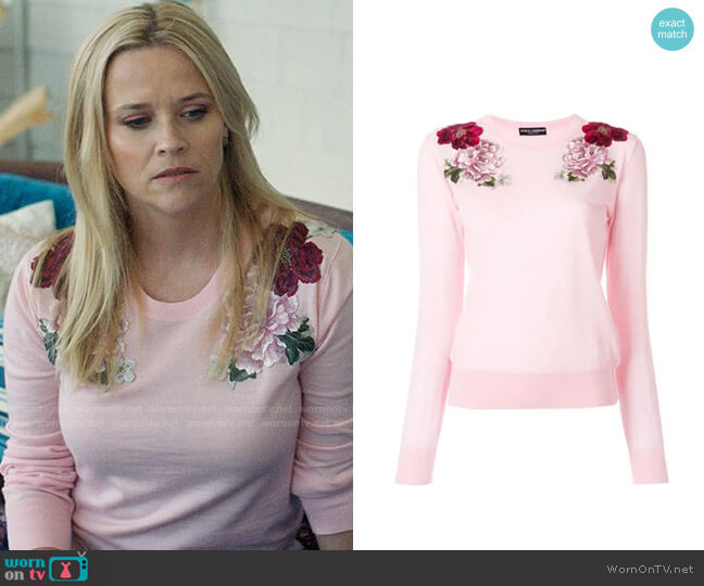 Dolce & Gabbana Cashmere Rose Patch Sweater worn by Madeline Martha Mackenzie (Reese Witherspoon) on Big Little Lies