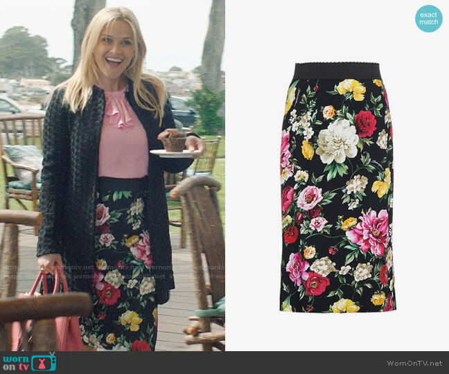 Dolce & Gabbana Silk Floral Pencil Skirt worn by Madeline Martha Mackenzie (Reese Witherspoon) on Big Little Lies