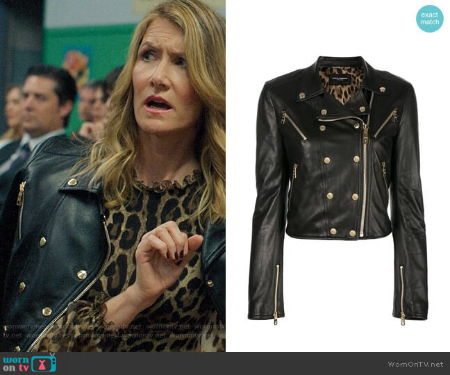 Dolce & Gabbana Studded Leather Biker Jacket worn by Renata Klein (Laura Dern) on Big Little Lies