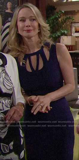 Donna's navy cutout dress on The Bold and the Beautiful