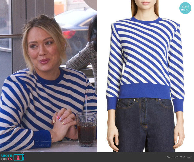 Nema Bias Stripe Sweater by Dries Van Noten worn by Kelsey Peters (Hilary Duff) on Younger