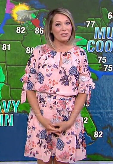 Dylan's pink floral tie sleeve dress on Today