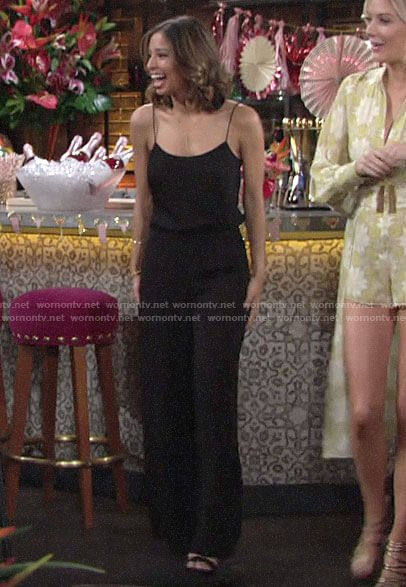 Elena's black jumpsuit at Lola's bridal shower on The Young and the Restless