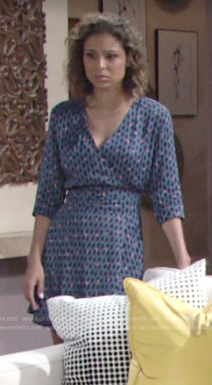 Elena's blue printed wrap dress on The Young and the Restless