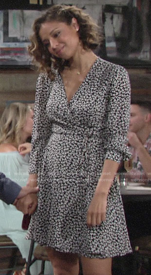 Elena's floral wrap dress on The Young and the Restless