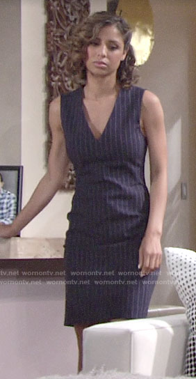 Elena's pinstriped dress on The Young and the Restless