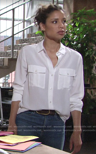 Elena's white button down shirt on The Young and the Restless
