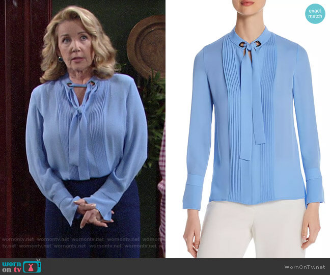 Elie Tahari Lisa Tie-Neck Pintuck Blouse worn by Nikki Reed Newman (Melody Thomas-Scott) on The Young & the Restless