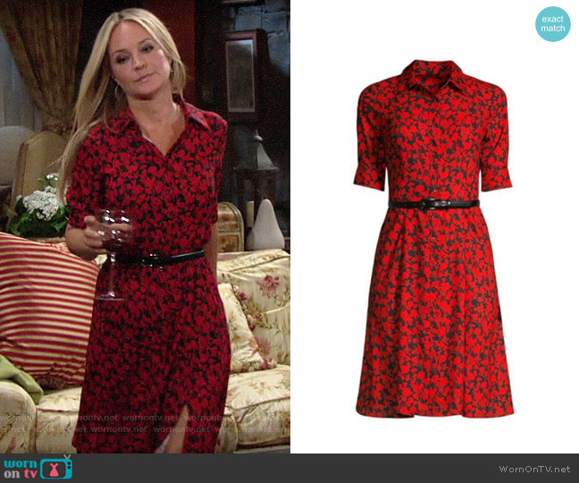 Elie Tahari Aisha Floral Shirtdress worn by Sharon Collins (Sharon Case) on The Young & the Restless