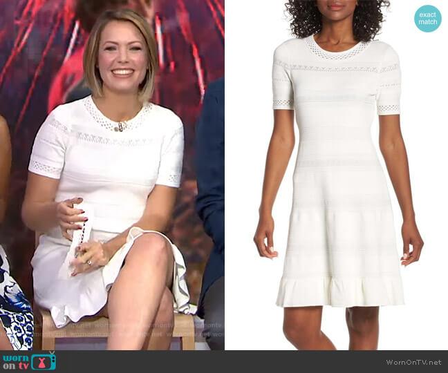 Pointelle Ruffle Hem Sweater Dress by Eliza J worn by Dylan Dreyer  on Today