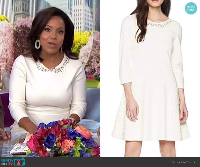 Sweater Dress with Lace Inset by Eliza J worn by Sheinelle Jones  on Today