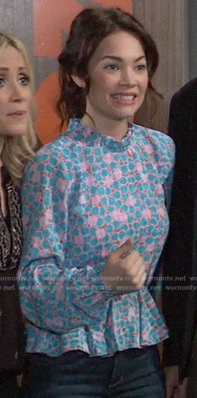 Elizabeth's blue and pink printed peplum top on General Hospital