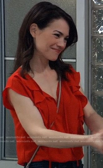 Elizabeth's red ruffled top on General Hospital