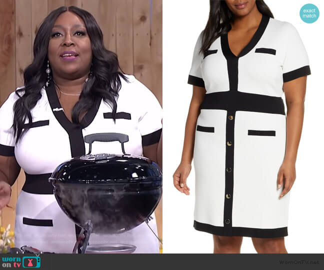 Button Detail Contrast Sweater Dress by Eloquii worn by Loni Love  on The Real
